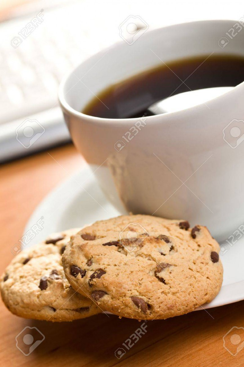 Breakfast In Office   Cookies And Coffee Stock Photo, Picture And