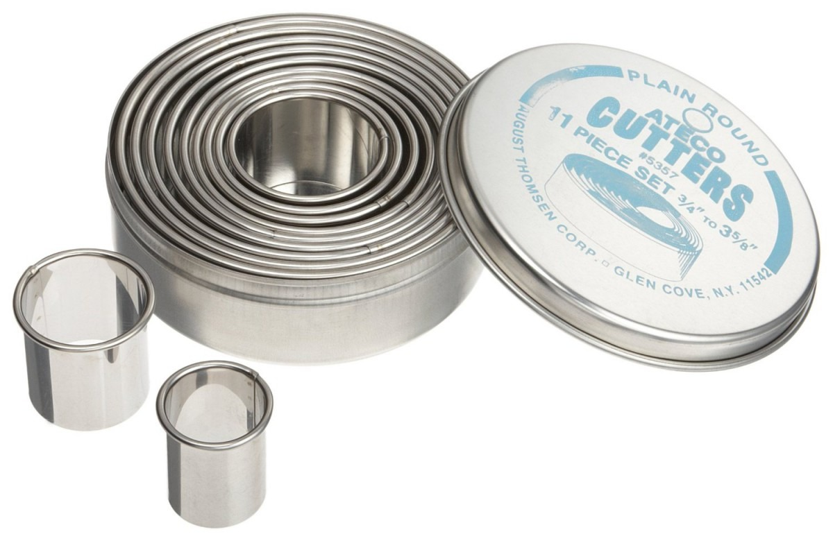 Ateco Stainless Steel Plain Round Cutter Set, 11 Pieces
