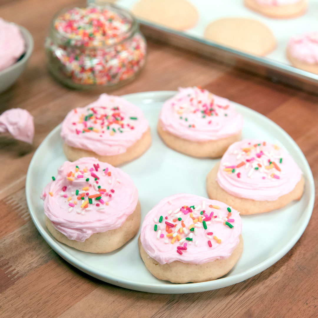 Frosted Pink Sugar Cookies ~ Recipe