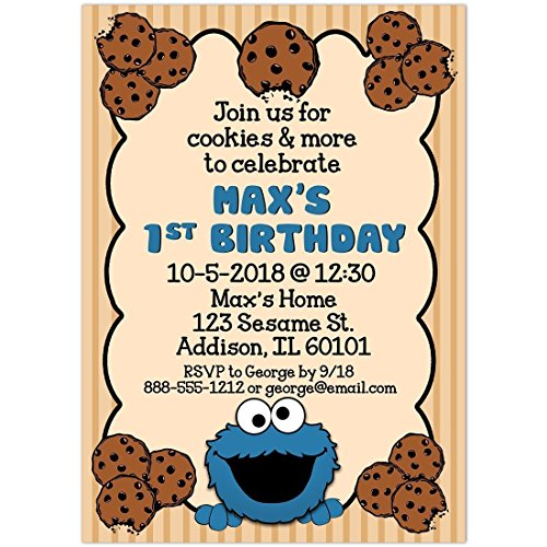 Bg Spectacular Cookie Monster Birthday Party Invitations