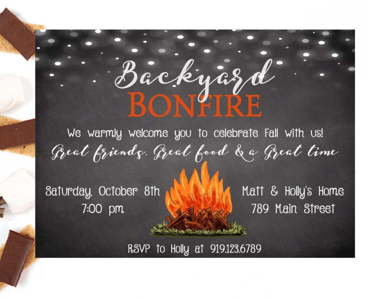 Bonfire Invitation, Backyard Bonfire, Bonfire Party Invitation