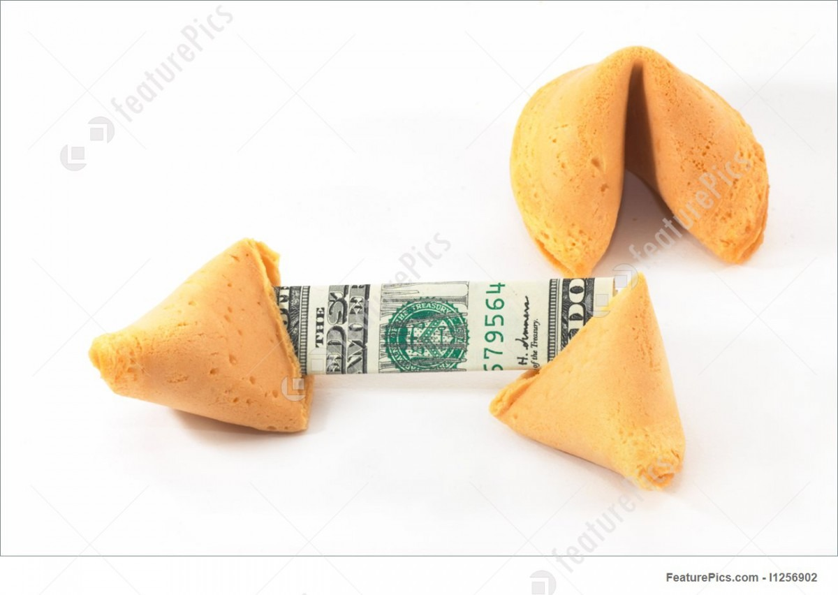 Chinese Fortune Cookie Open With Money, Cash, On White Background