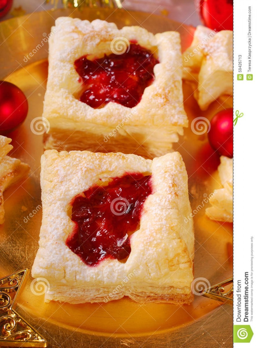 Christmas Puff Pastry Cookies With Cranberry Stock Image