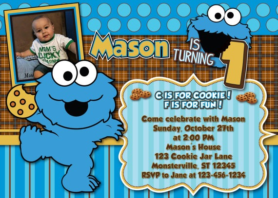 Cookie Monster Birthday Invitation Lovely Cookie Monster Birthday