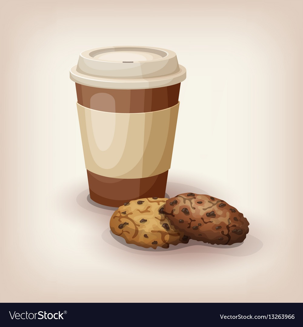 Cup Of Coffee And Chocolate Chip Cookies Vector Image