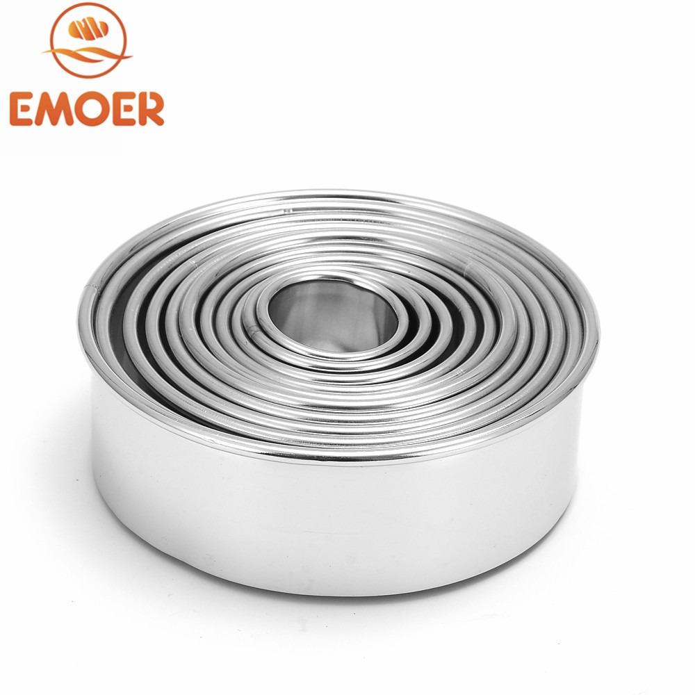 Emoer 11 Pcs 304 Stainless Steel Round Pastry Fondant Cookie