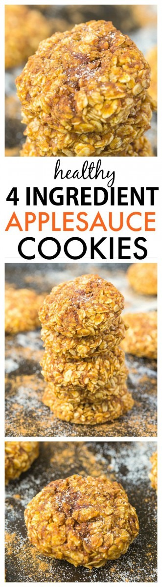 Healthy 4 Ingredient Applesauce Cookies