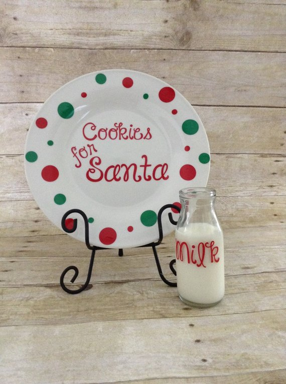 Santa Cookie Plate With Milk Glass Santa Plate Cookies For
