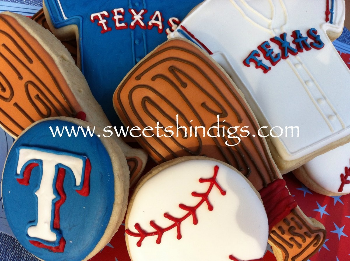 Sweet Shindigs  Texas Rangers Baseball Sugar Cookies