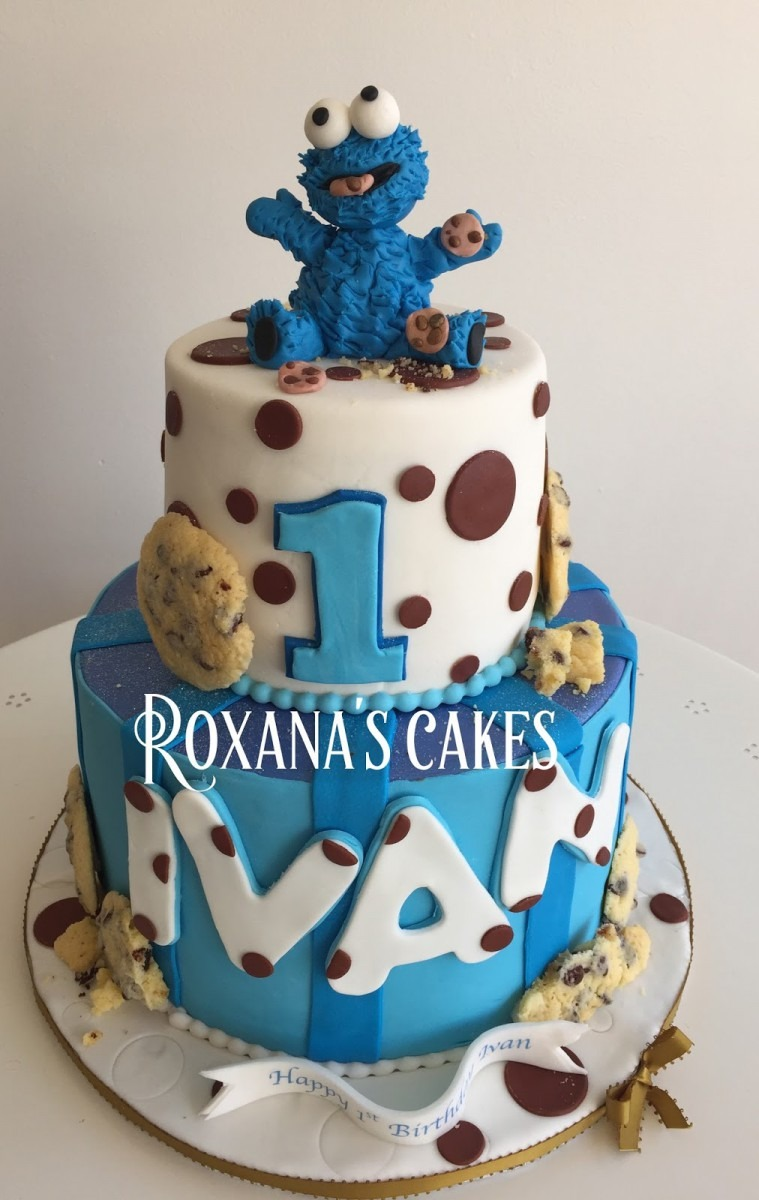 Baking With Roxana's Cakes  Cookie Monster 1st Birthday Cake