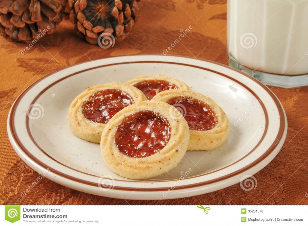Jam Filled Shortbread Cookies Stock Photo