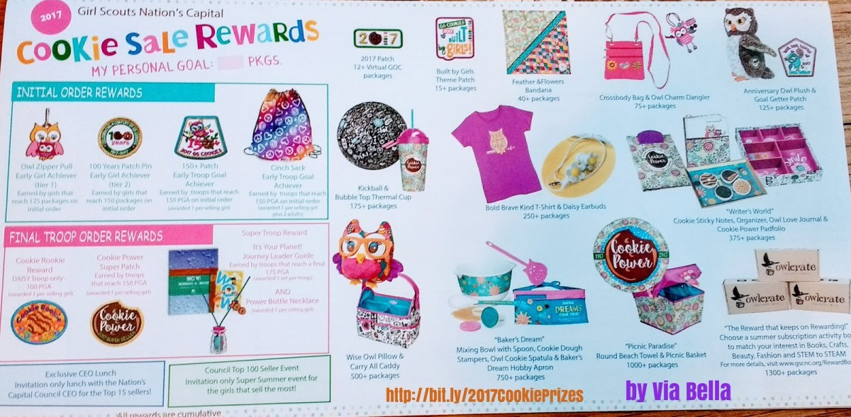 Via Bella  Great Cookie Sale Prizes For Girl Scouts In 2017