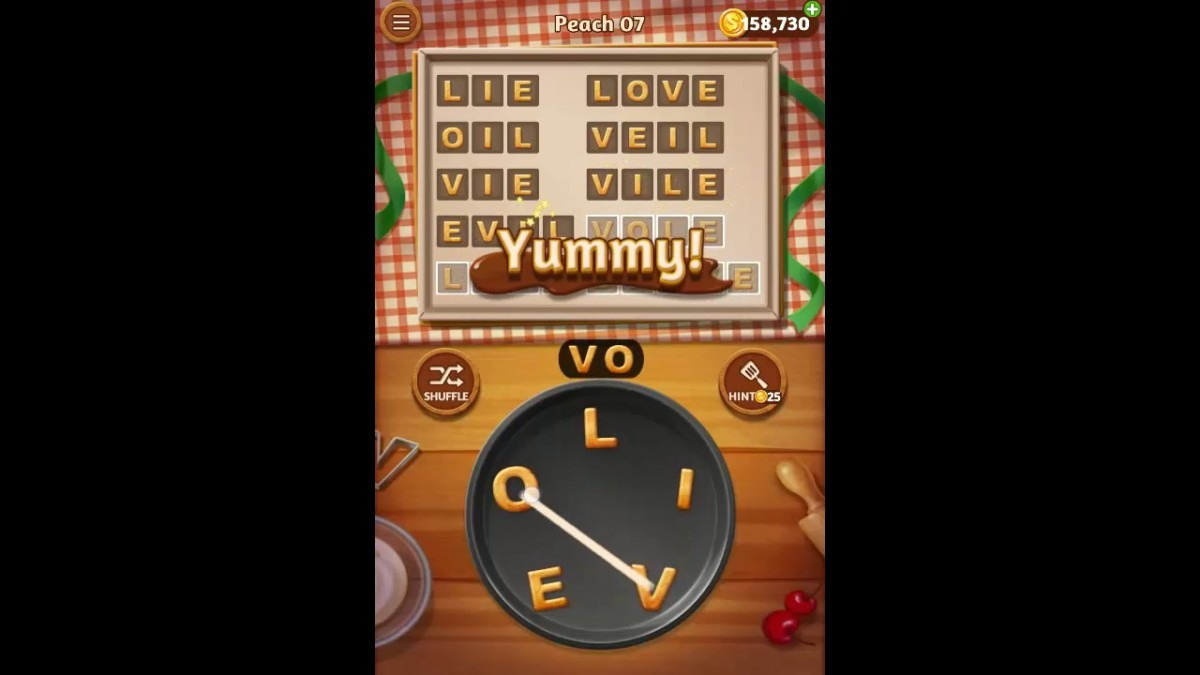 Word Cookies Peach Pack Level 7 Answers