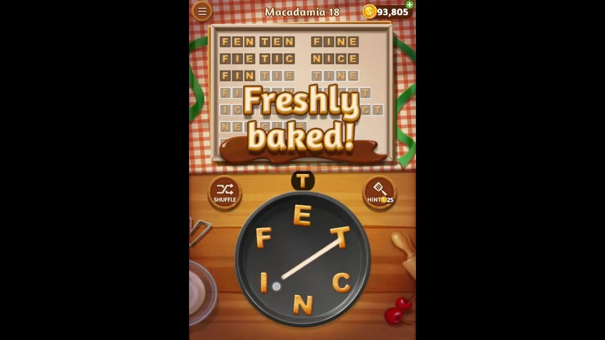 Word Cookies Macadamia Pack Level 18 Answers