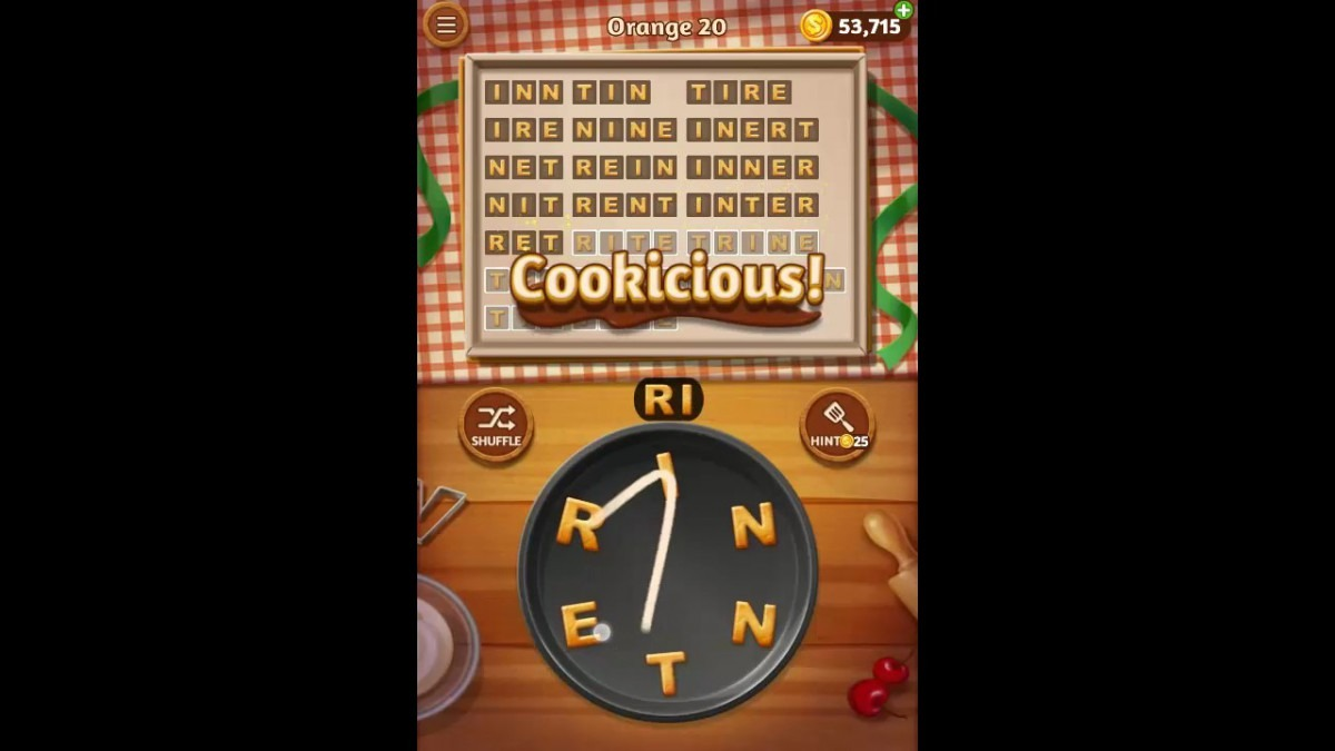 Word Cookies Orange Pack Level 20 Answers