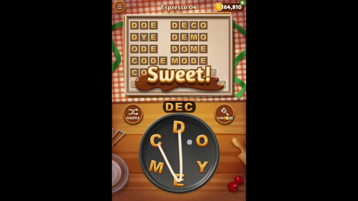 Word Cookies Espresso Pack Level 4 Answers