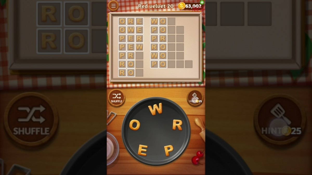 Word Cookies Red Velvet Level 20 Talented Chef Solved