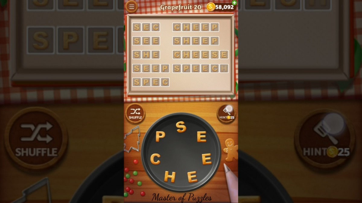Word Cookies Grapefruit Level 20 Star Chef Solved