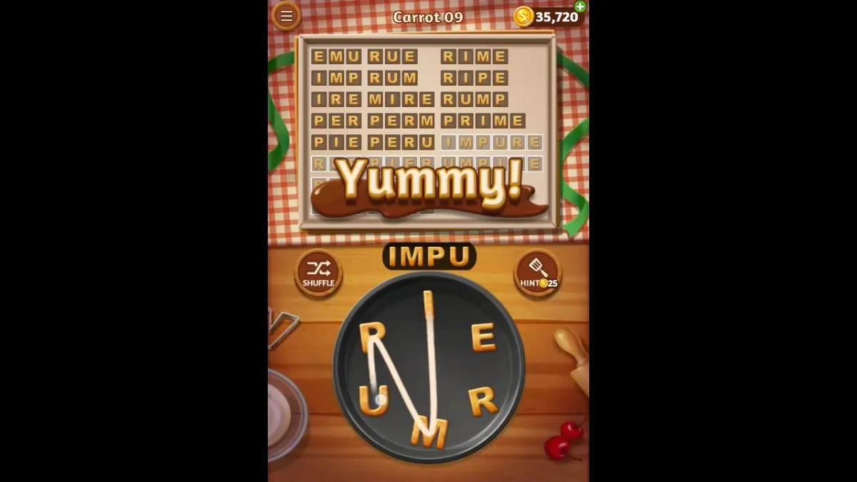 Word Cookies Carrot Pack Level 9 Answers