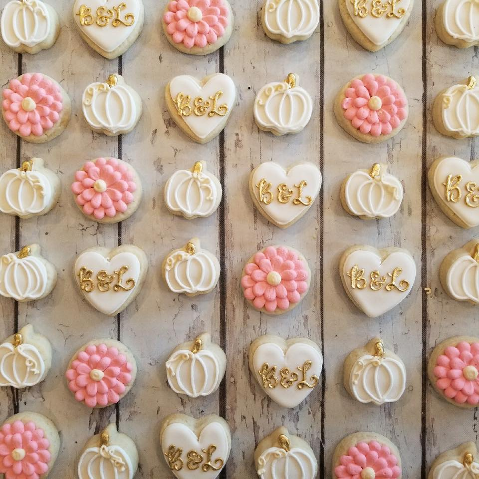 Mini Pink And White Fall Bridal Shower Cookies