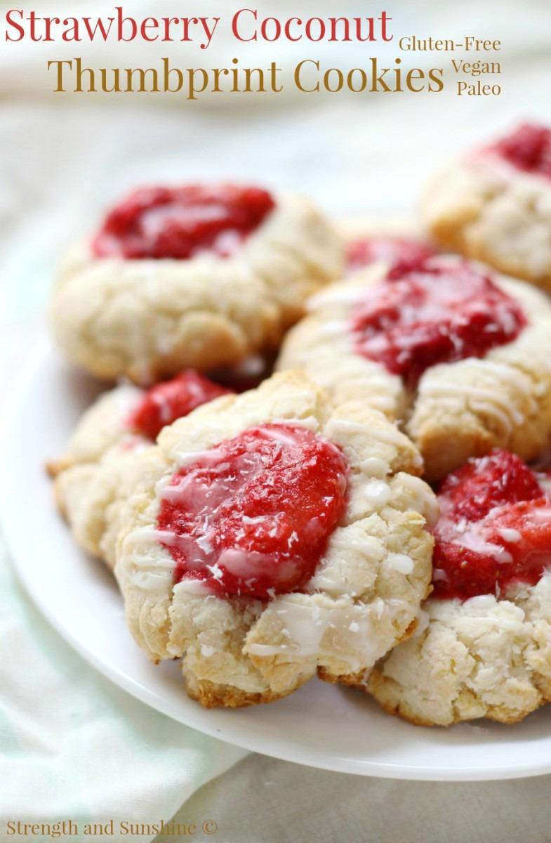 Paleo Strawberry Coconut Thumbprint Cookies (gluten