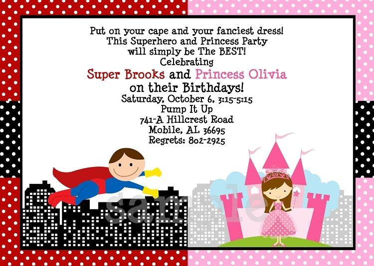 Princess And Superhero Party Invitation Template Nice With