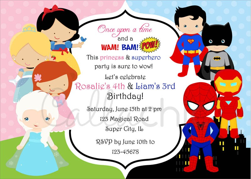Princess And Superhero Party Invitation Template Marvelous With
