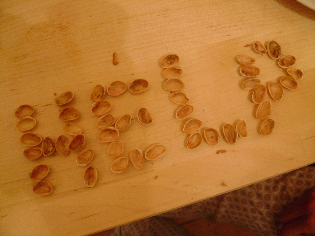 File The Word Help Spelled With Pistachio Nut Shells Flickr Fuse