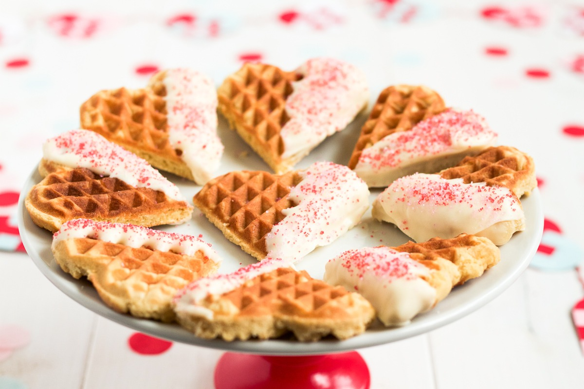 White Chocolate Dipped Waffle Cookies