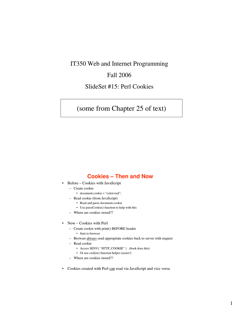 Some From Chapter 25 Of Text) It350 Web And Internet Programming