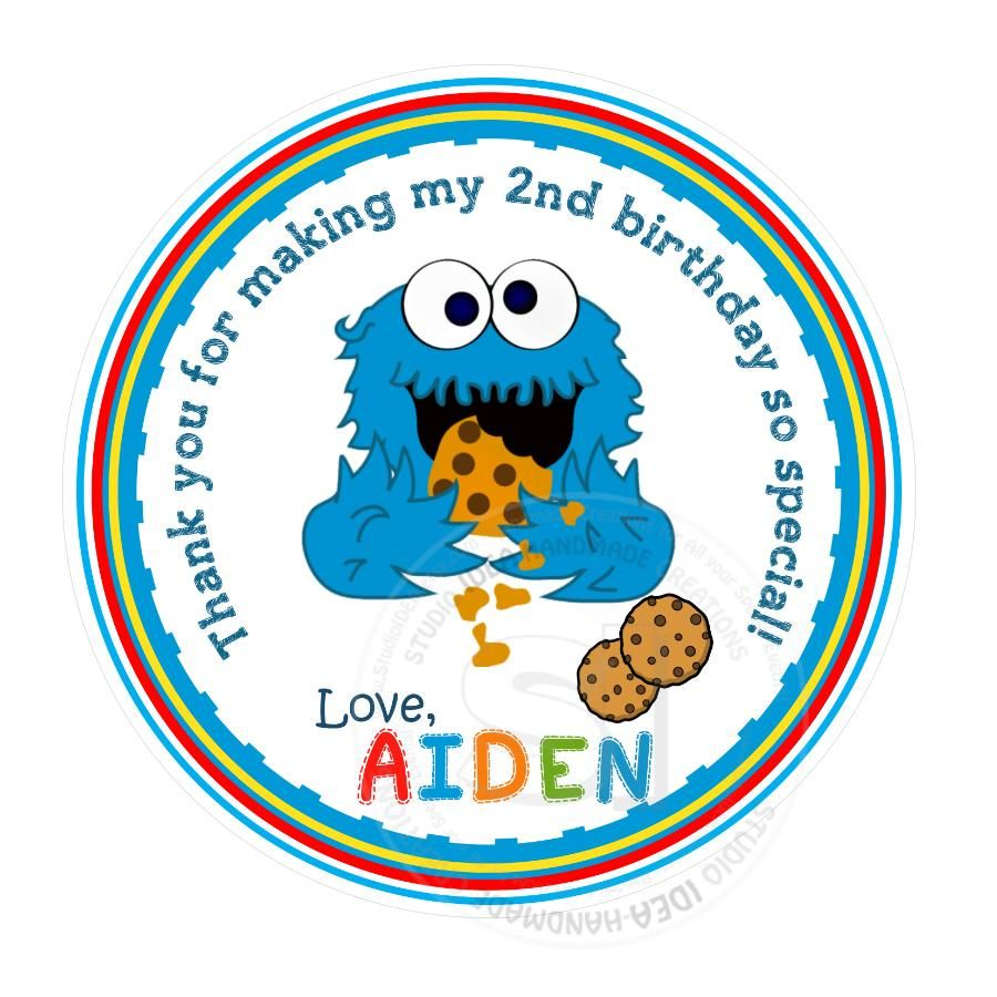 Custom Baby Cookie Monster Stickers