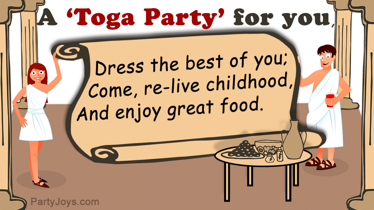 Invitations For A Toga Party