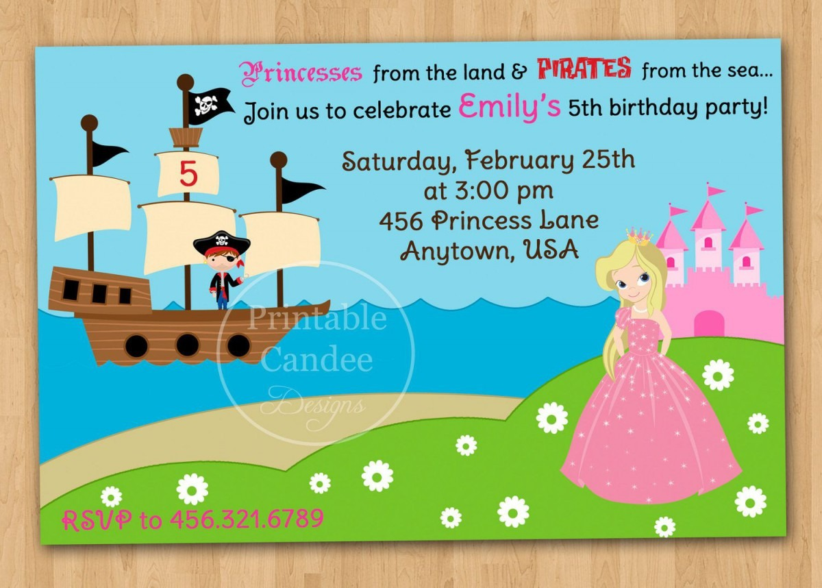 Pirate And Princess Party Invitations Template