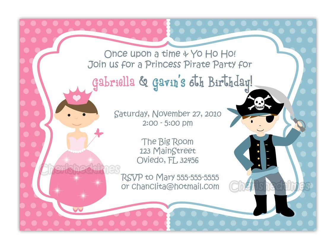 Cool Free Template Princess And Pirate Birthday Party Invitations