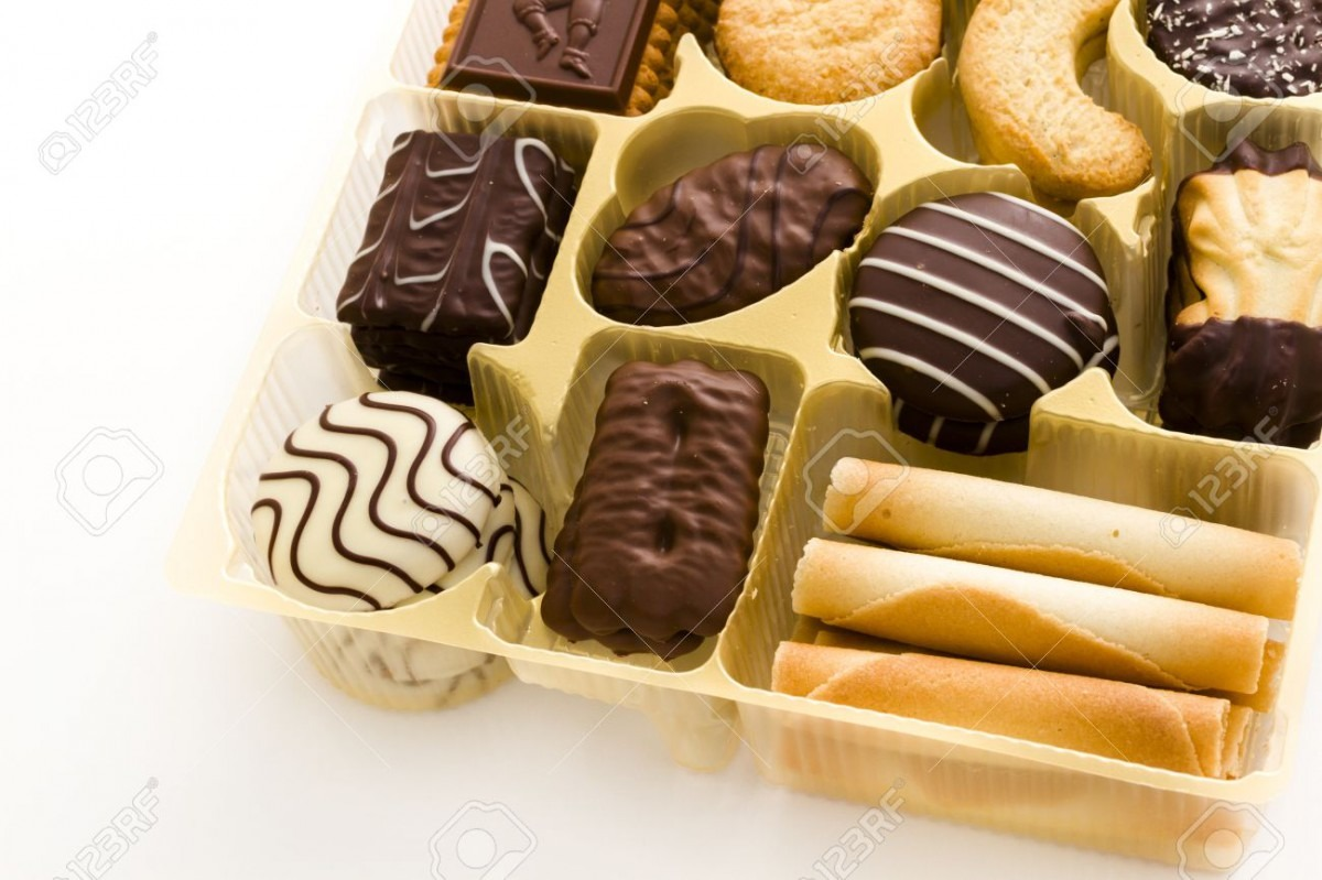 Assorted European Cookies Covered In Belgian Chocolate  Stock