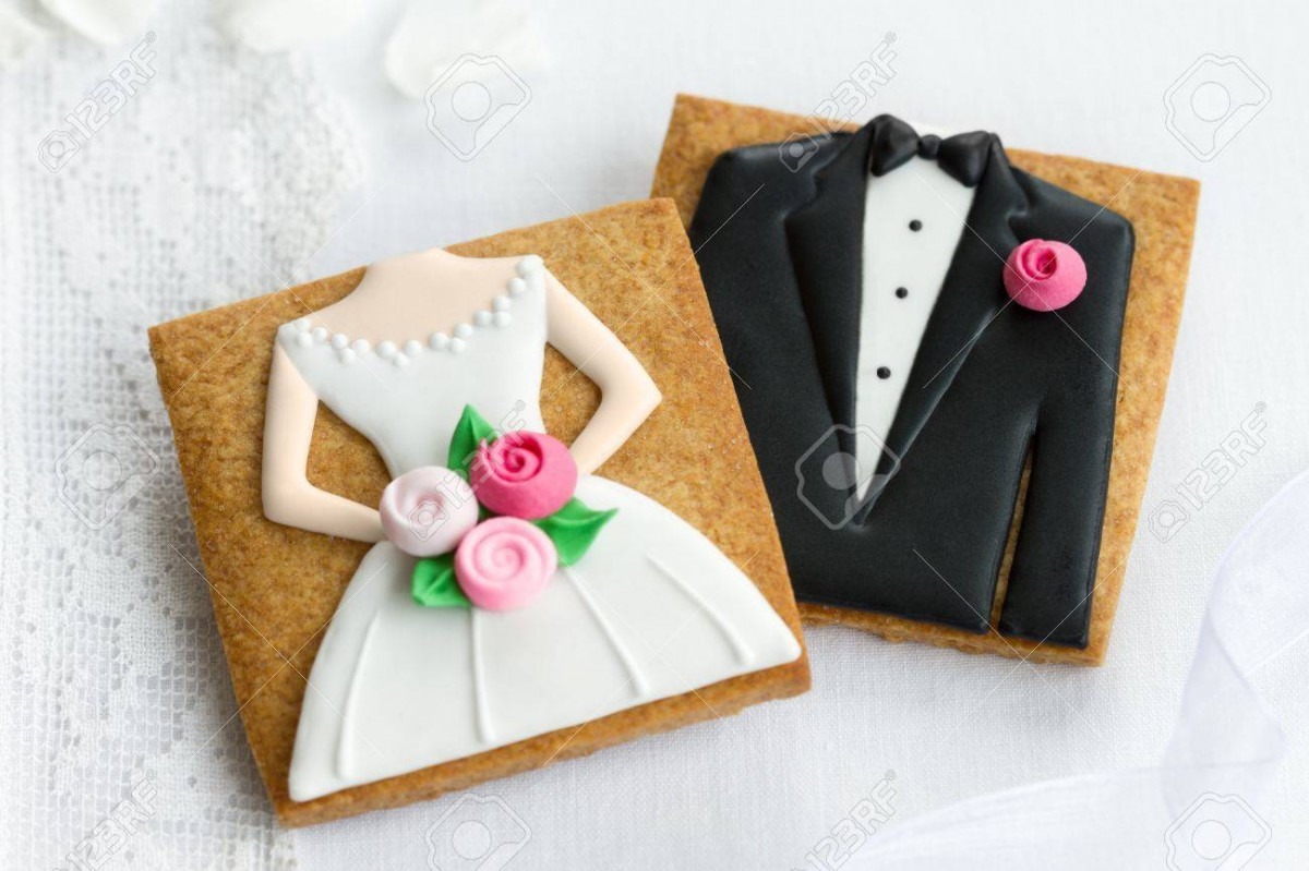 Bride And Groom Cookies Stock Photo, Picture And Royalty Free