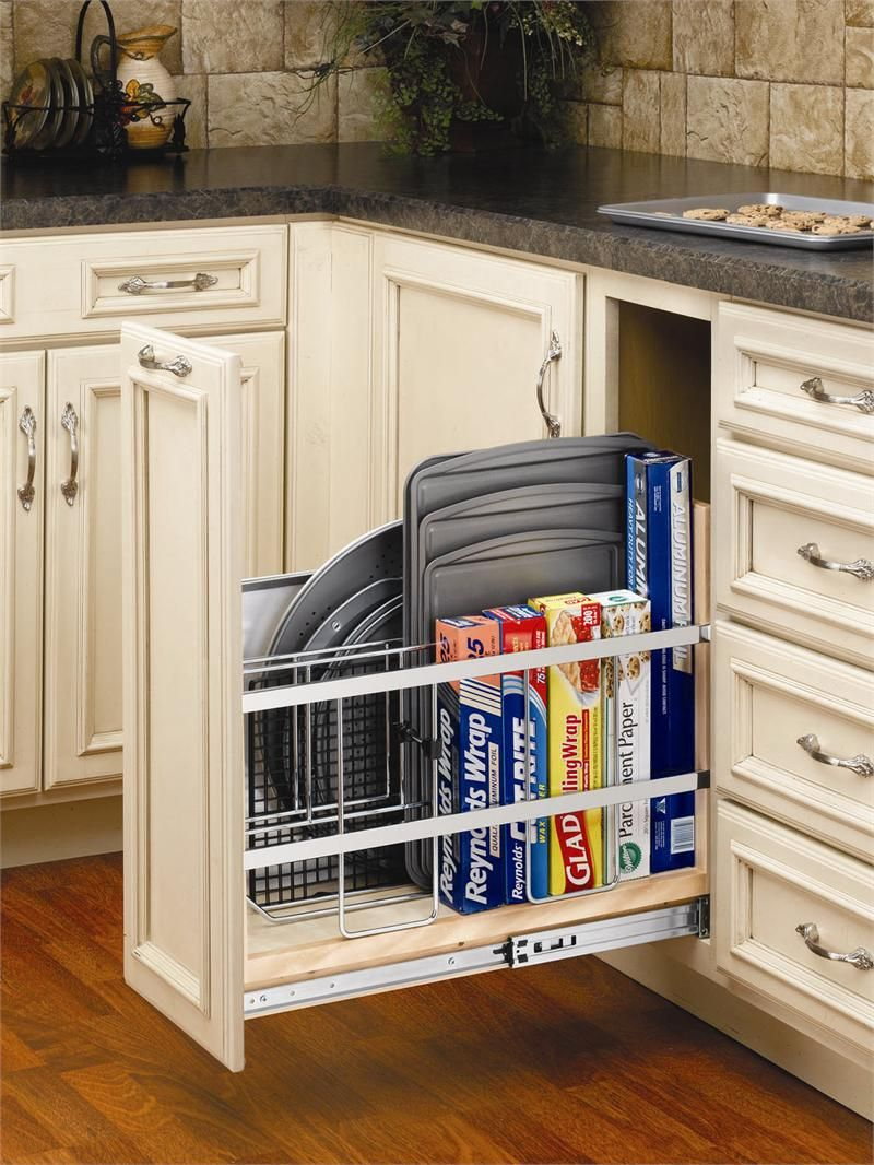 Pull Out Tray Divider For Cookie Sheets, Pizza Pans, And Aluminum