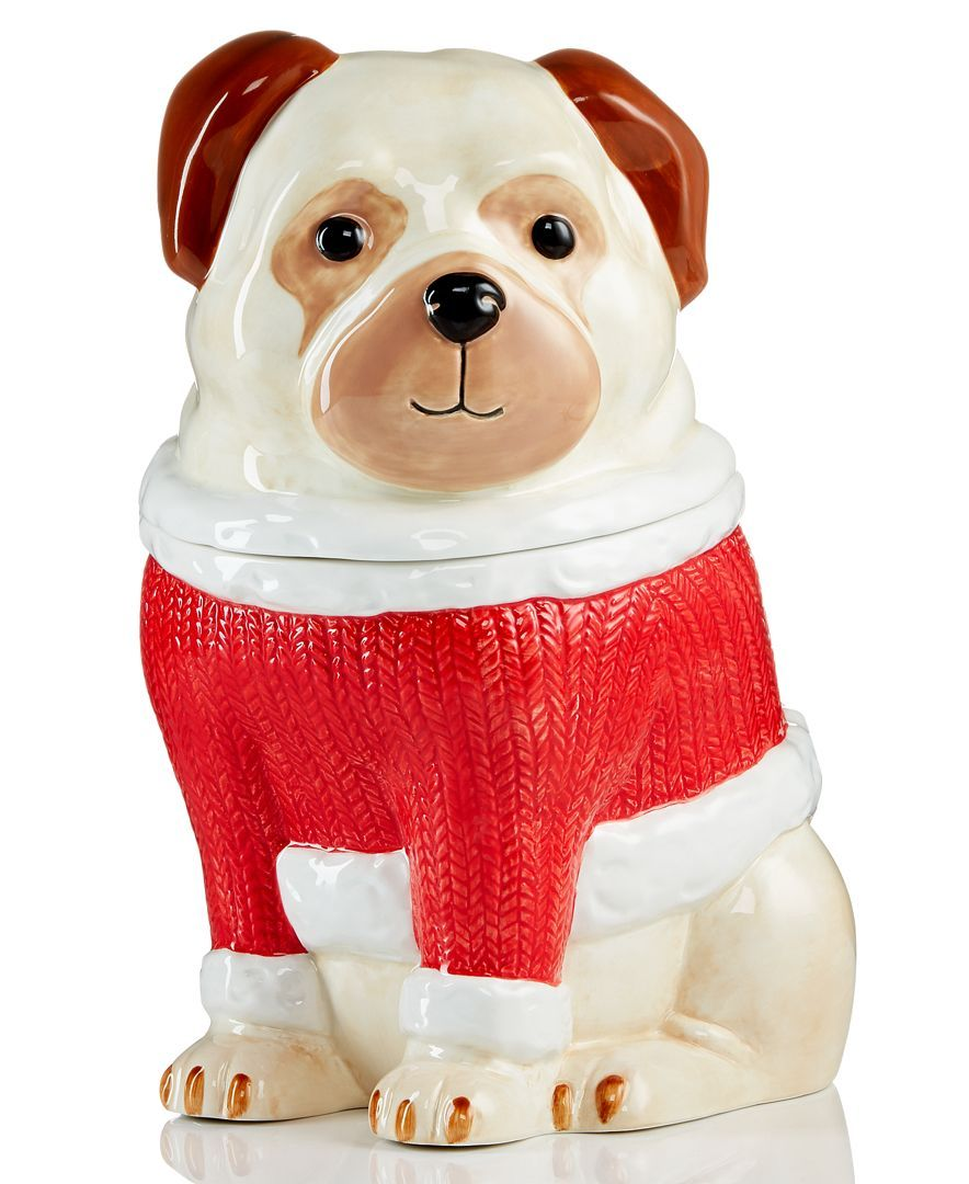 Martha Stewart Collection Pups & Plaids Pug Cookie Jar, Only At