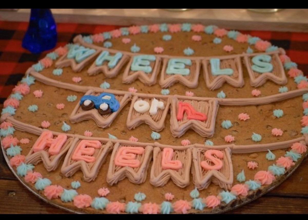Our Gender Reveal Cookie Cake!  Genderisteamwheels!
