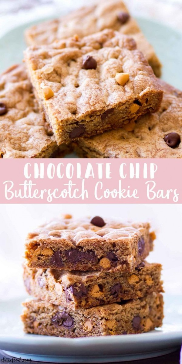 These Chocolate Chip Butterscotch Cookie Bars Are A Cross Between