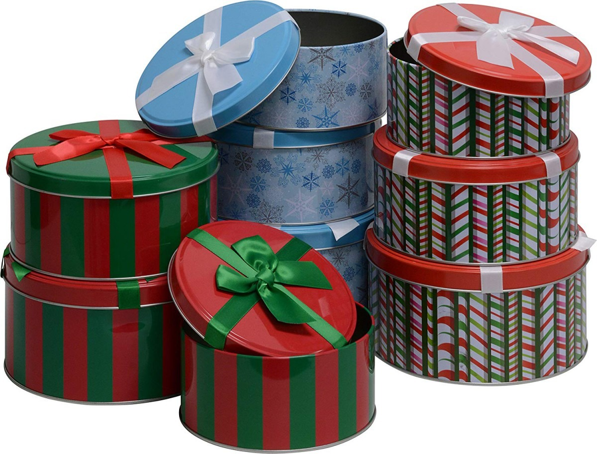 Christmas Cookie Tins, Round Nested, 4 Sets Of 3 Nesting Tins, 12