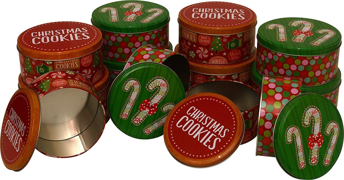 Amazon Com  Christmas Cookie Tins, Round Nested, 4 Sets Of 3