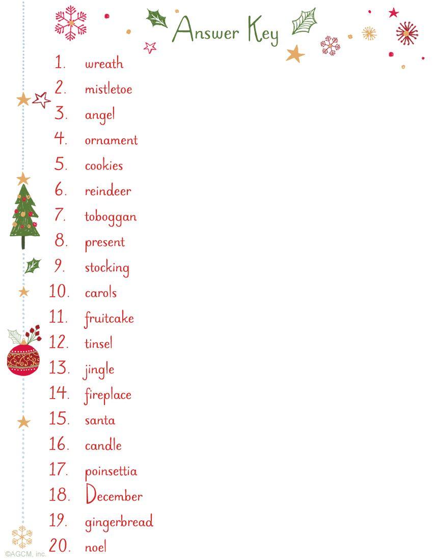 Christmas Word Scramble Answer Key