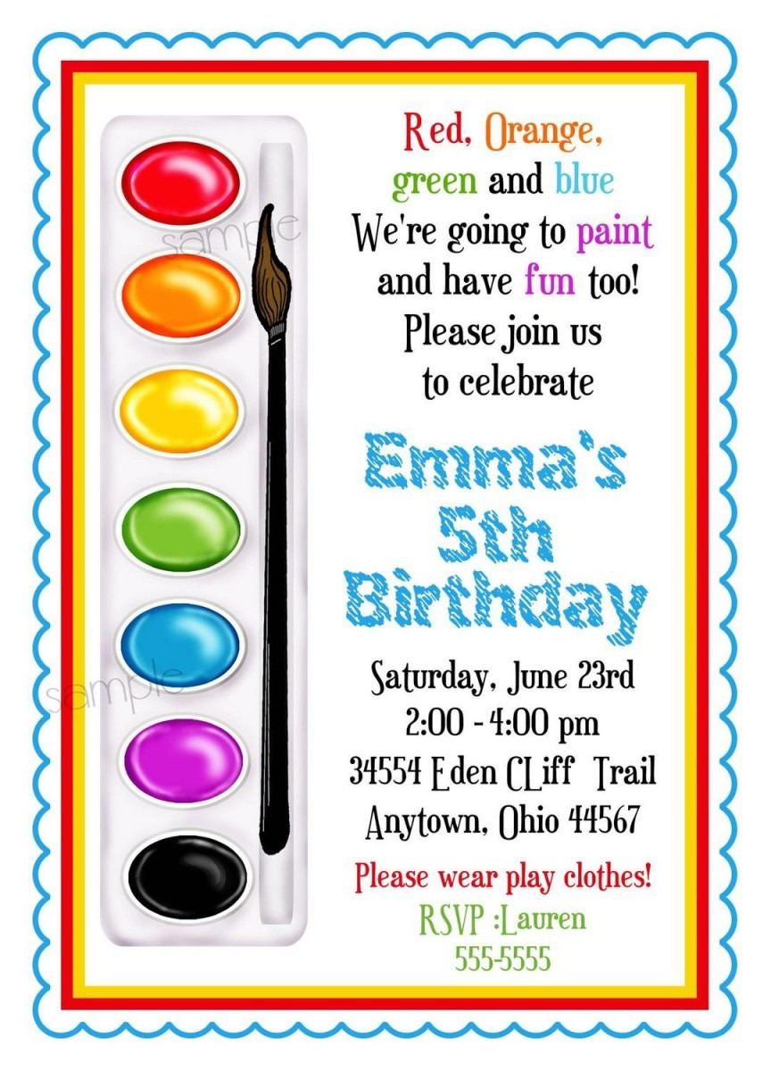Art Invitations, Painting Party , Birthday Party, Paint Box, Paint