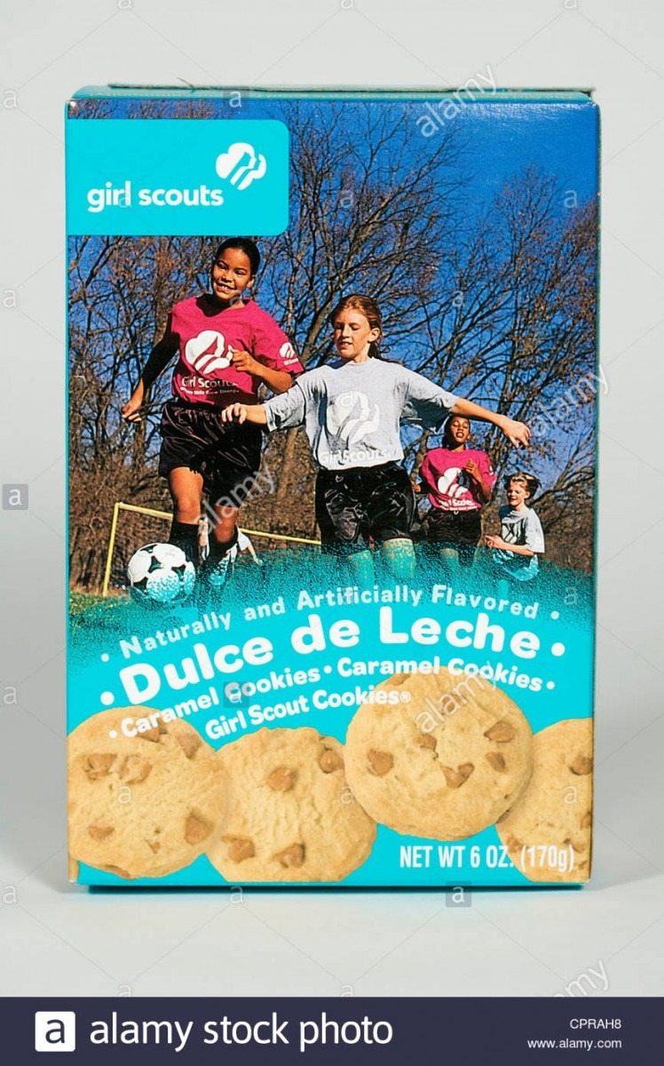 A Box Of Dulce De Leche Girl Scout Cookies Stock Photo  48456388