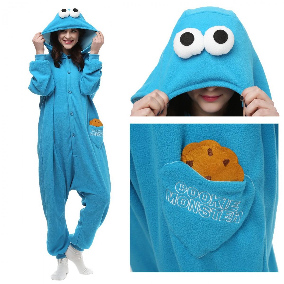 Blue Cookie Monster Onesie, Blue Cookie Monster Pajamas For Women