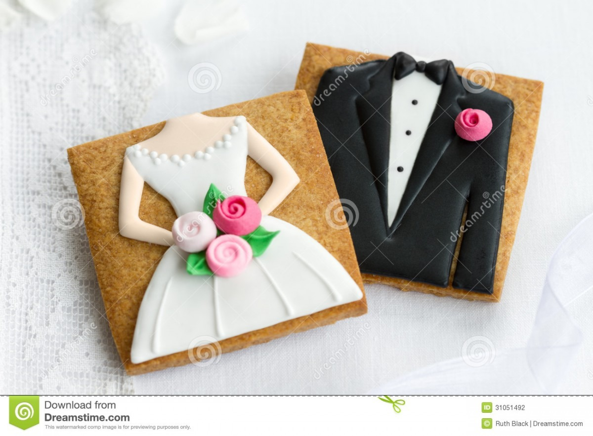 Bride And Groom Cookies Stock Photo  Image Of Marriage