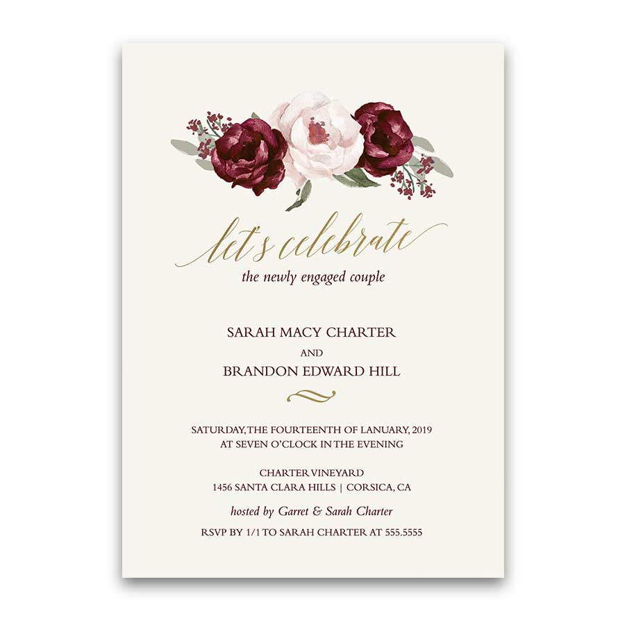 Floral Engagement Party Invitations Burgundy Fall Wedding