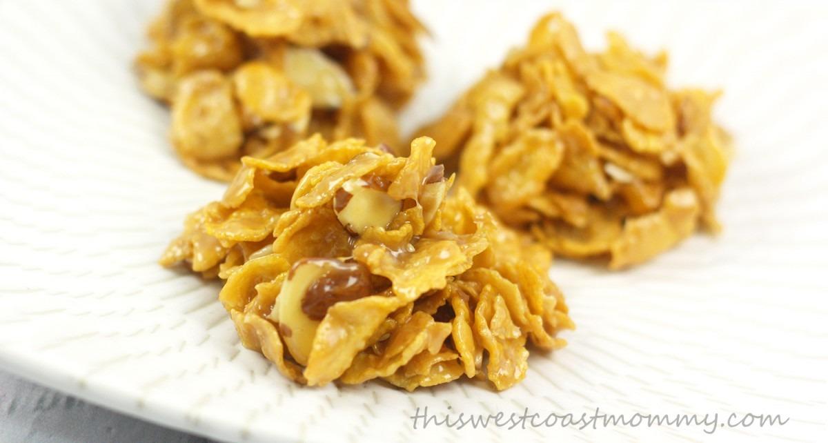 No Bake Corn Flake Toffee Drop Cookies