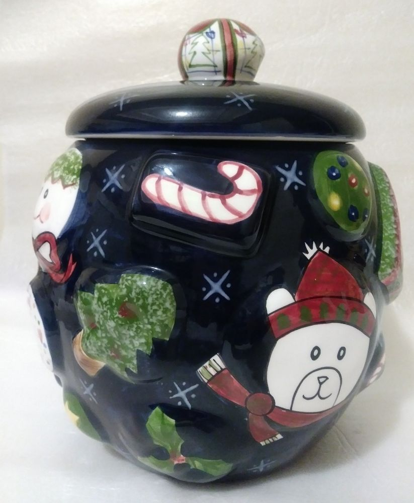 The Cellar Christmas Twilight Collection Cookie Jar Navy Blue